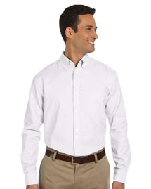 Harriton M600 Mens Long Sleeve Oxford with Stain-Release at bigntallapparel