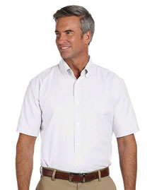 Harriton M600S Mens Short Sleeve Oxford with Stain-Release at bigntallapparel
