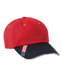 Harriton M840 Mens 6 Panel Sandwich Cap at bigntallapparel