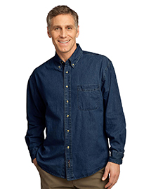 Port & Company SP10 Mens Long Sleeve Value Denim Shirt at bigntallapparel